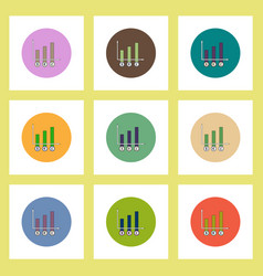Flat icons set of column chart and currency vector