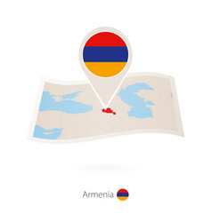 Folded paper map armenia with flag pin vector