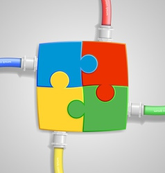 four pieces puzzle come together vector image