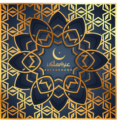 Golden pattern background with islamic shape vector