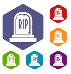 Gravestone with rip text icons set hexagon vector