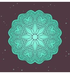 Green ethnics mandala on broun background vector