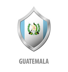 Guatemala flag on metal shiny shield vector