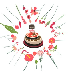 happy birthday cupcake and florals vector image