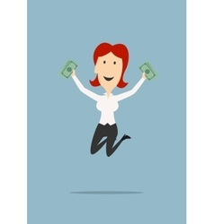 Happy businesswoman jumping with money in hands vector