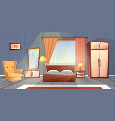 Interior of bedroom living room furniture vector
