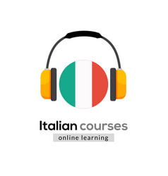 Italian language learning logo icon with vector