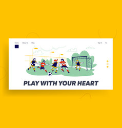 kids playing soccer website landing page football vector image