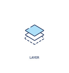 Layer concept 2 colored icon simple line element vector