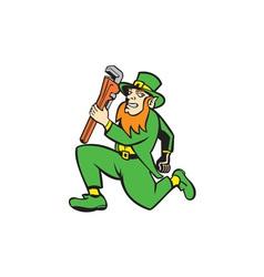 Leprechaun Plumber Wrench Running Retro vector image