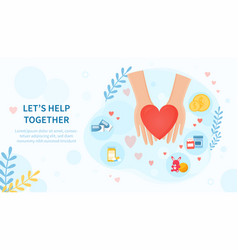Lets help together concept with helping hands vector