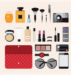 Makeup cosmetics bag with accessories vector