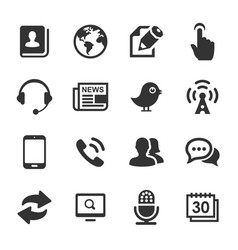 Media and communication icons set black series vector