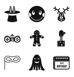 Merriment icons set simple style vector
