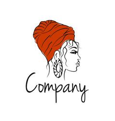 Modern beautiful african woman logo vector