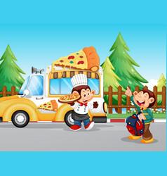 Monkeys serving pizza in park vector