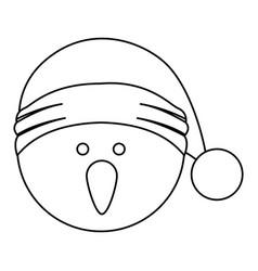 Monochrome contour of snowman head with christmas vector