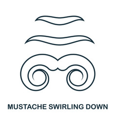 Mustache swirling down icon flat style icon vector