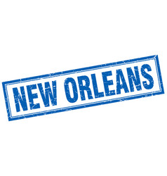 New orleans blue square grunge stamp on white vector