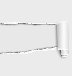 Oblong snatched hole in white sheet paper from vector