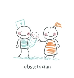 Obstetrician with the patient and the child vector