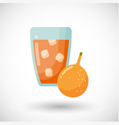 Passion fruit juice glass flat icon vector