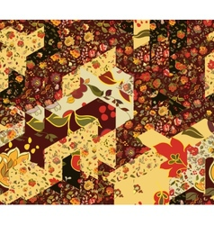 Patchwork pattern with flowers vector image