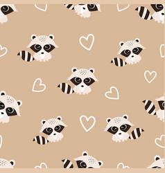 pattern with raccoon vector image