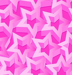 Pink 3D stars seamless patter on pink vector image