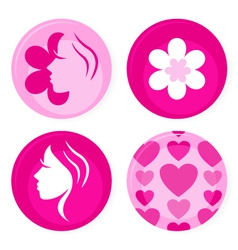 Pink female badges vector