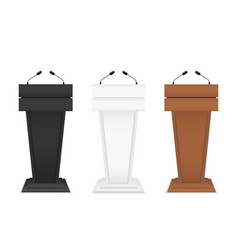 podium for speech rostrum stand with microphone vector image