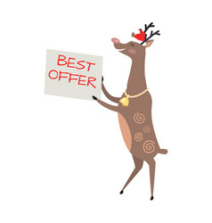 Poster best offer held by deer on white background vector