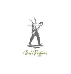 posture bad spine pain back problem concept vector image