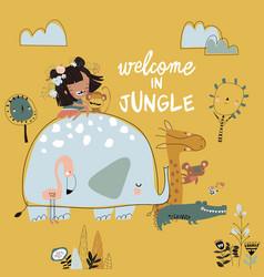 pretty girl with cartoon jungle animal happy vector image