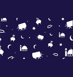 Ramadan dark blue doodle background vector