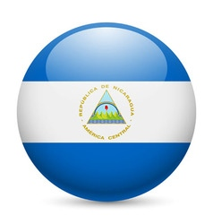 Round glossy icon of nicaragua vector image