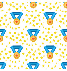 seamless pattern with awarda gold medal stars vector image