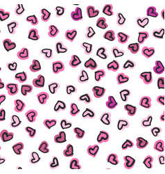 seamless pattern with hand drawn hearts happy vector image