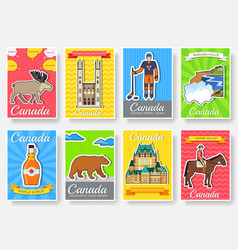 Set of canada country ornament travel trip concept vector