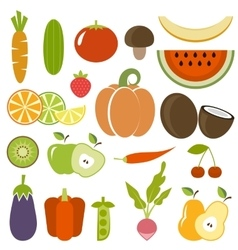 Set of vegetables and fruits vector