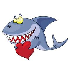shark and heart vector image
