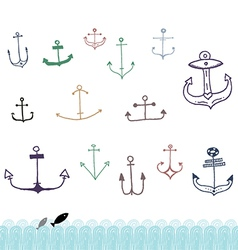 Ship Anchor Doodles vector image