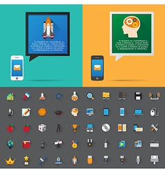 Smartphone alert and flat icons collection Set 4 vector image