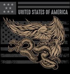 snake and eagle flag usa america logo design vector image