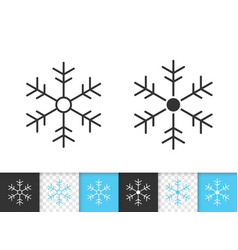 snowflake simple black line icon vector image
