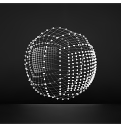 Sphere with Connected Lines and Dots Grid 3d vector image