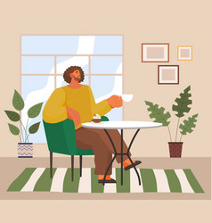 stylish man sitting in modern armchair at home or vector image