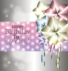 Stylish shiny card for birthday with balloons vector