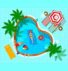 swimming pool top view composition vector image