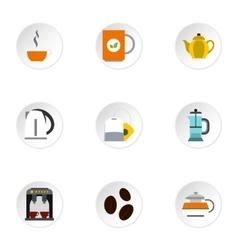 Tea icons set flat style vector